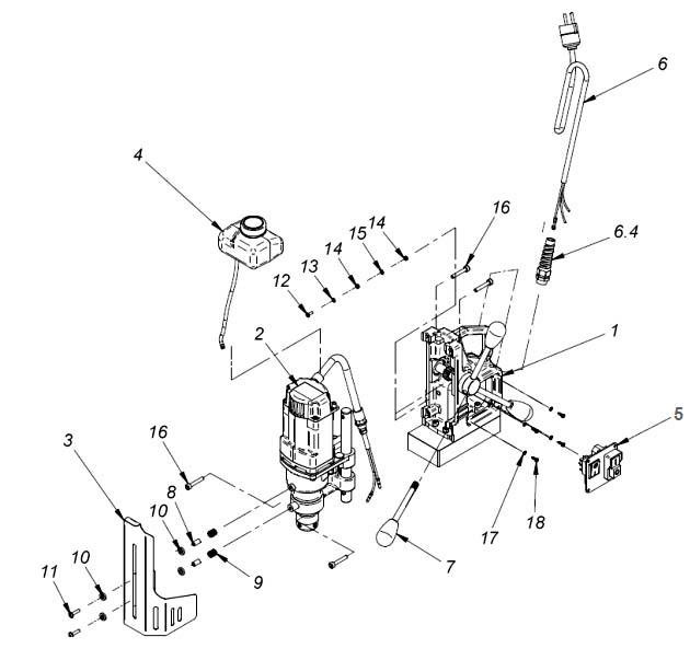 МС-36 Сборочная схема сверлильного магнитного станка на магнитном основании