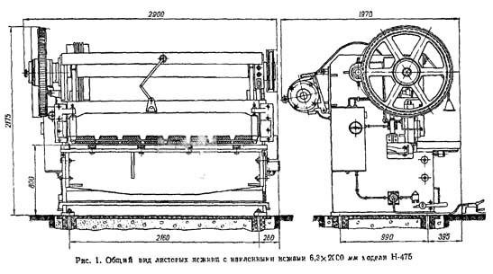 Н-475 Габарит рабочего пространства и чертеж общего вида ножниц