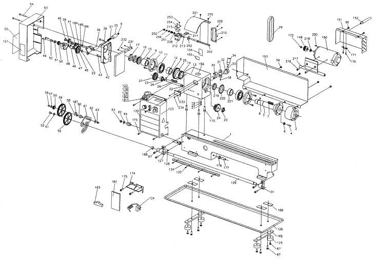 Профи-350 Расположение составных частей токарного станка