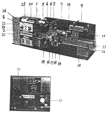 Профи-350 Расположение составных частей токарного станка Профи-350