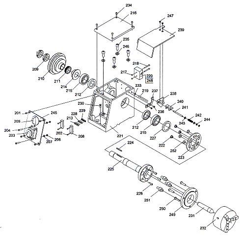 Профи 550 Схема сборки передней бабки токарного станка