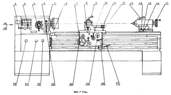 С11МТ Расположение составных частей органов управления токарно-винторезным станком