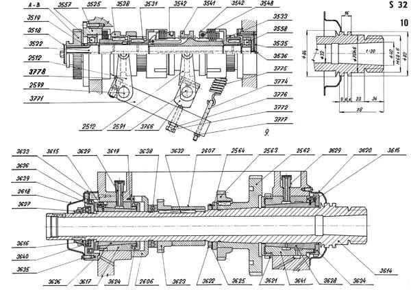 Чертеж шпинделя токарно-винторезного станка SN-32