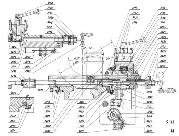 SN-32 Чертеж суппорта токарно-винторезного станка SN-32