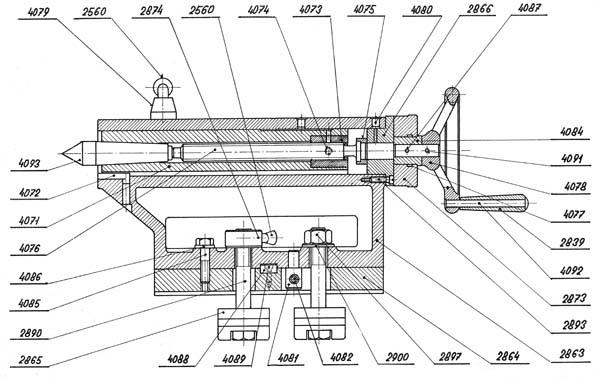 SN-32 Чертеж задней бабки токарно-винторезного станка SN-32