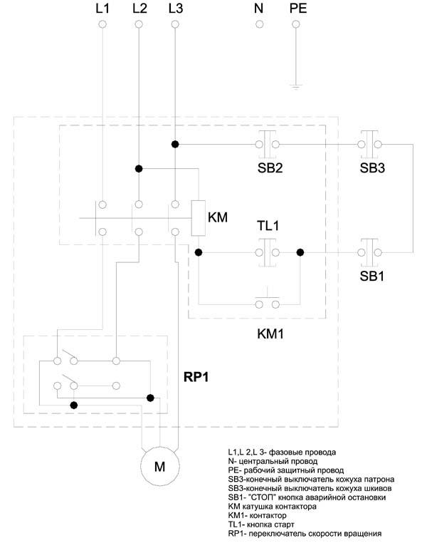 SPA-500 Схема электрическая принципиальная токарного станка