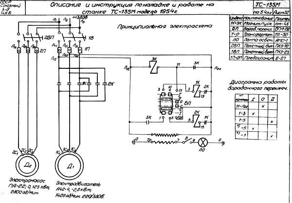 Схема электрическая принципиальная токарно-винторезного станка ТС-135