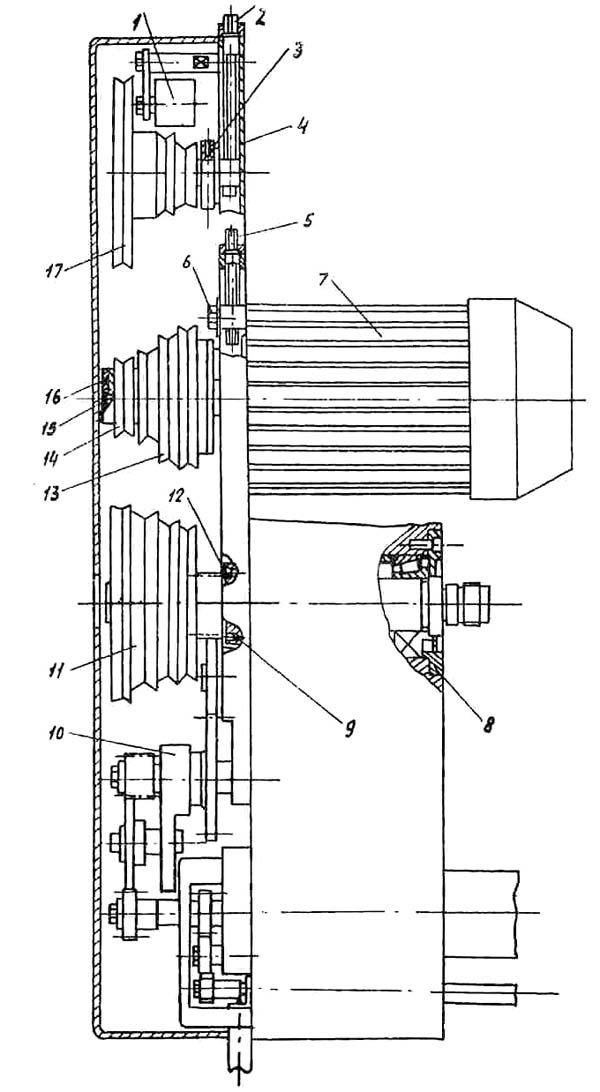 Шпиндельная бабка и привод главного движения токарного станка Универсал-В