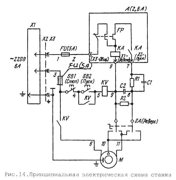 Схема электрическая токарного станка Универсал-В