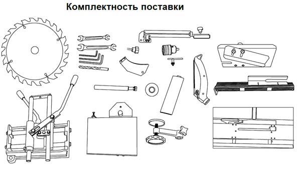 Стандартная комплектация станка WM1921