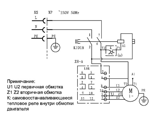 Схема электрическая комбинированного станка WM1921