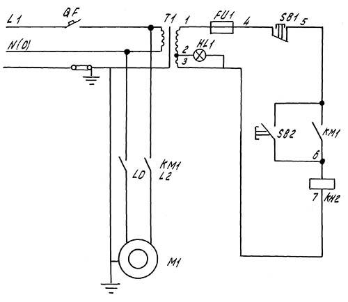 Электрическая схема сверлильного станка 2С108п на 220В