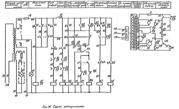 Электрические схемы станка 6с12ц