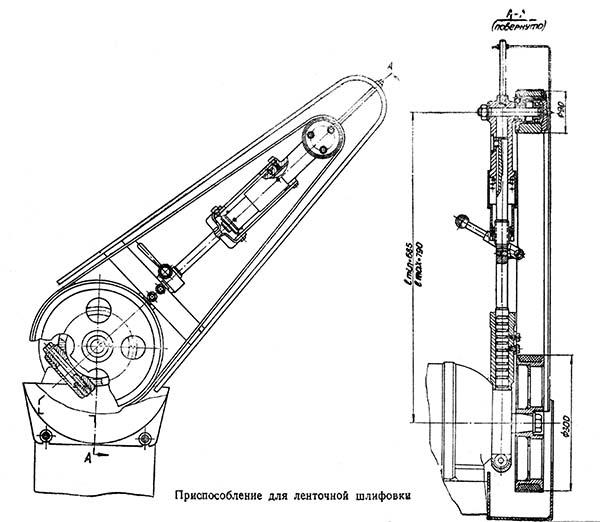 Приспособление для ленточной шлифовки для точильно-шлифовального станка 3Б633