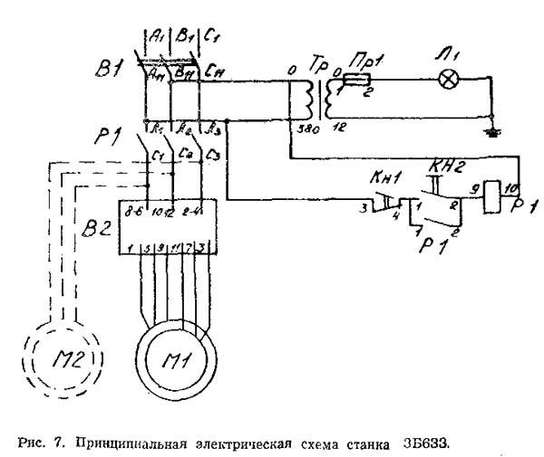 3Б633 Схема электрическая точильного шлифовального станка