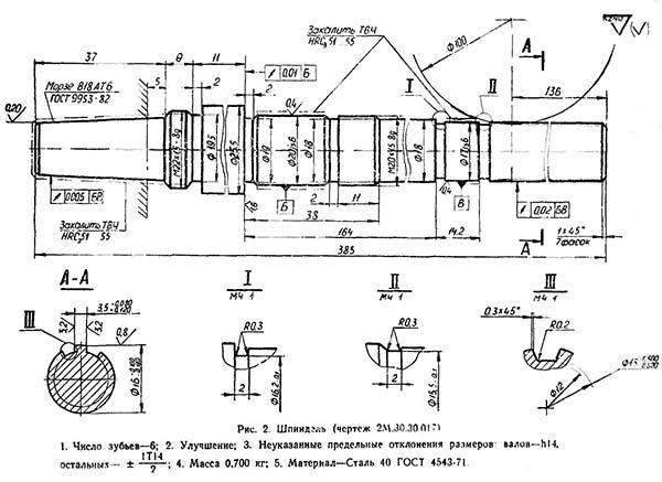 Чертеж шпинделя сверлильного станка 2М112