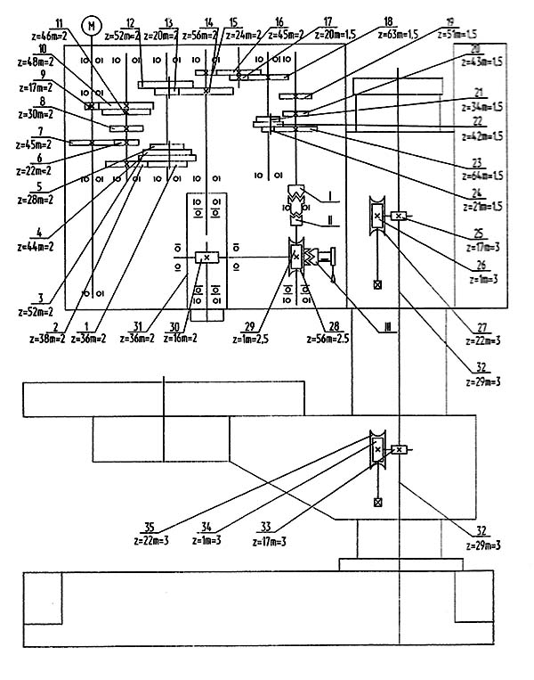 Кинематическая схема сверлильного станка 2Т140