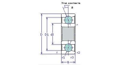 Схема подшипника 36205 (7205) настольно-сверлильного станка 2М112