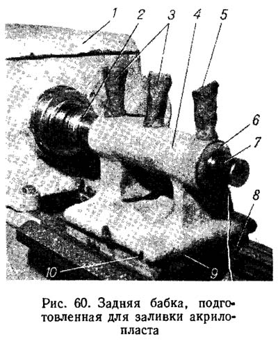 Ремонт корпуса и мостика задней бабки без применения акрилопласта
